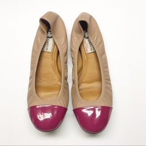Lanvin Paris Leather Scrunch Captoe Leather Flats